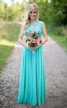 Meerblau Brautjungfernkleider Spitze Chiffon Elegante Lange Trauzeugin Kleider BEQ15132