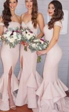 Pailletten Meerjungfrau Brautjungfernkleider Rosa Schichten Zug Seitlich Geteilt Sexy Trauzeugin Kleider BEQ15932