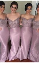 Elegante Spitzenapplikationen Brautjungfernkleider Meerjungfrau Schulterfreies Ballkleid BEQ16502