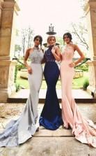 Neckholder-brautjungfernkleider Spitzenapplikationen Offener Rücken Sexy Hochzeitsfestkleid BEQ34522