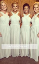 Elegantes ärmelloses A-linien Chiffon Cross Brautjungfernkleid BEQ37092