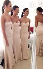 Elegantes Langes Brautjungfernkleid Aus Herzförmiger Spitze Im Meerjungfrau-stil BEQ39532