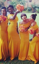 Schicke Gelbe Meerjungfrau-brautjungfernkleider Schulterfreies Hochzeitskleid BEQ67962