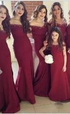 Neuankömmling Einfache Meerjungfrau Schulterfreies Brautjungfernkleid Mit Seitlichem Schlitz BEQ77232