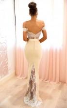 Elegante Schulterfreie Brautjungfernkleider Meerjungfrauen-abendkleider Aus Spitze BEQ83372