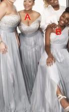 Neue Silberne Perlenbrautjungfernkleider Eine Schulter A-linie Trauzeugin Kleid BEQ88812