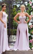 Neue Meerjungfrau-brautjungfernkleider Mit Langen Ärmeln Hochzeitskleider Mit Überrock BEQ93072