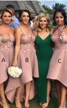 Sexy Hallo Brautjungfernkleider Applikationen ärmellose Hochzeitsgastkleider BEQ93642
