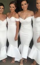 Einfache Weiße Meerjungfrau-brautjungfernkleider Schulterfrei Hallo-lo Trauzeugin Kleid BEQ96322
