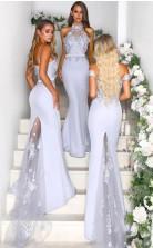 Elegante Meerjungfrau-brautjungfernkleider Spitzenapplikationen Brautjungfernkleider BEQ98622