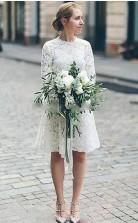 Vintage Spitze Langarm Kurzes Brautkleid GBWD003
