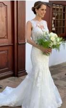 Meerjungfrau Runden Kragen Bodenlangen Hochzeitskleid Zierliche Bräute GBWD013