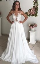 Einfache Applikation Perlen Sommer Strand Eine Linie Zierliche Braut Brautkleider GBWD018
