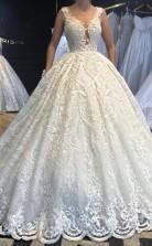 Luxus Ballkleid Perlen Spitze Brautkleid Hoch Maßgeschneiderte GBWD019