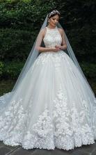 Luxus Ballkleid Spitze Muslimische Braut Plus Größe Hochzeitskleid GBWD022