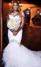 Luxus Perlen Long Tail Meerjungfrau Plus Size Wdding Kleid Für Schwarze Frauen GBWD036