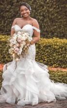 Afrikanische Plus Size Perlen Applikationen Boho Tiered Rüschen Meerjungfrau Brautkleid GBWD038