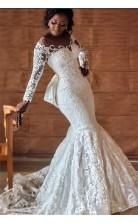 Schwarze Mädchen Nigerianische Spitze Hochzeit Brautkleider Mit Langen Ärmeln Plus Größe GBWD042