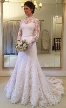 Charmante Lange Ärmel Spitze Meerjungfrau High Neck Dubai Brautkleider Zierliche Bräute GBWD043