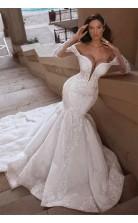 Meerjungfrau Langarm Zug Tief V-ausschnitt Perlen Weiße Brautkleider GBWD047