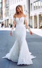Langärmlige Meerjungfrau Spitze Stadt Straße Hochzeitskleid Glasgow GBWD050