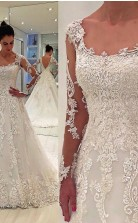 Eine Linie Spitze Applikationen Langarm Brautkleider Liverpool GBWD051