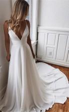 Eine Linie Einfache Weiße V-ausschnitt Lange Boho Kleid Sommer Hochzeitskleid GBWD055