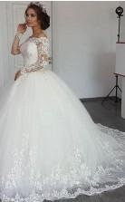 Ballkleid Von Der Schulter Langarm Bootshals Geschwollene Arabische Hochzeitskleid GBWD058