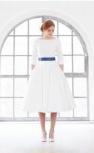 Einfache Vintage 1950er Jahre Tee Länge 3/4 Ärmel Kurzes Hochzeitskleid GBWD062