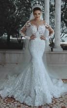 Luxus Voll Gefütterte Lange Ärmel Spitze Perlen Meerjungfrau Brautkleid GBWD063
