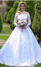 Elegante Lange ärmel Schnüren Eine Linie Perlen Hochzeitskleid Sheffield GBWD064