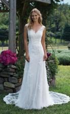 Einfache Elegante Spitze Meerjungfrau V-ausschnitt Brautkleid Bristol GBWD065