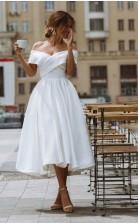 Klassisches Einfaches 50s Tee Länge Kurzes Rockailly Hochzeitskleid Belfast GBWD071