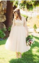 Plus Size Eine Linie Nackt Tee Länge Land Rustikale 50er Jahre Hochzeitskleid Garten GBWD074