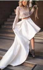 Zweiteiliges Langärmeliges Hochtiefes Hochzeitshochzeitskleid Leicester GBWD076