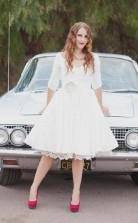 Audrey Hepburn 3/4 Ärmel Rockabilly Inspiriert 50er Jahre Kurzes Hochzeitskleid GBWD080