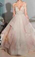 Spitze Langarm Schichten Trägerlose Prinzessin Hochzeitskleid Leicester GBWD081