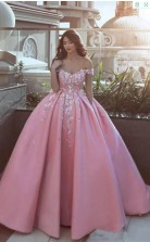 Ballkleid Rosa Prinzessin Brautkleid Mit Spitzenapplikationen GBWD082