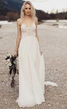 Eine Linie Boho Beach Chiffon Fließende Spaghettiträger Hochzeitskleid Liverpool GBWD087