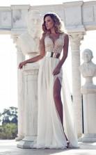 Einfaches Boho Chiffon Fließendes Sommerstrand Hochzeitskleid London GBWD091