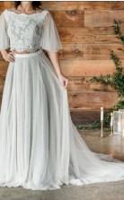 Eine Linie Halber Ärmel Boho Rustikale Ernte Top Zweiteilige Brautkleid GBWD093