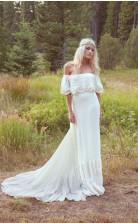 Eine Linie Boho Off Shoulder Bohemian Brautkleid Für Naturhochzeit GBWD094