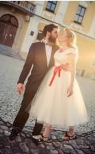 Einfaches Landhochzeitskleid, 50er Jahre Stil Tee Länge Brautkleid GBWD101