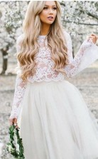 Einfache Strandspitze Langarm Kurz Zweiteiliges Hochzeitskleid GBWD108