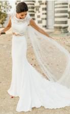 Einfache Spitze Top Braut Trennt Zweiteilige Meerjungfrau Strand Brautkleid GBWD111