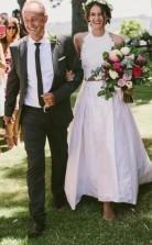 Einfache Vintage Halfter Spitze Spitze Rustikale Zweiteilige Braut Trennt Boho Hochzeitskleid GBWD112