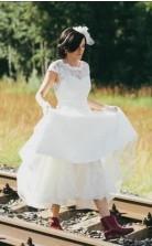 Eine Linie Vintage 50er Jahre Rockabilly Spitze Brautkleider Tee Länge ältere Bräute GBWD113