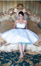 Eine Linie Einfache Plus-size-schatz Herz Trägerlosen Vintage Kurzen Hochzeitskleid GBWD115