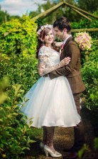 Kurzarm Vintage Land Plus Größe Tee Länge 50er Jahre Stil Brautkleid Edinburgh GBWD127