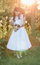 Eine Linie Einfache Land Vintage Vintage Flügelärmel Tee Länge Brautkleid Für Kurze Frauen GBWD129